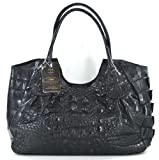 100% HORNBACK SKIN GENUINE CROCODILE LEATHER HANDBAG BAG TOTE HOBO LARGE SOFT&SHINY BLACK NEW EMS SHIPPING @ Genuineshop