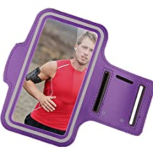 buy V-Youth Armband: Reding Sports Running & Exercise Gym Sport Band (5.5-Inch)( Fits S4,Note Edge,Note3,S5/S6 Edge ,Note4 )(Water Resistant + Sweat Proof + Key Holder + Headphone Ports)(Purple)(S4)