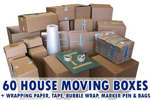 60 Recycled Boxes plus complete house moving pack 2,3 or 4 Bedroom house, includes all packing materials for your house move
