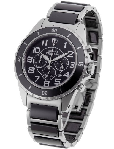 DeTomaso Men's Quartz Watch Treviso Keramik Silber Chronograph DT1036-B with Metal Strap
