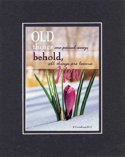 Old Things Are Passed Away; Behold All Things Become New . . . 8 X 10 Inches Biblical/Religious Verses Set In Double Beveled Matting (Black On Black) - A Timeless And Priceless Poetry Keepsake Collection