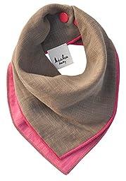 Kishu Baby Girl Bandana Bib, Solid Reversible, One Size Multicolor (khaki/pink)