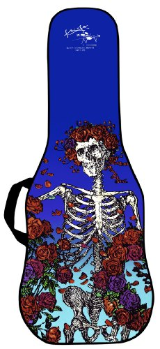 Boldface Electric Guitar Custom Printed Gig Bag Case With Replaceable Face Panel. Swap Face Panels To Change Your Bag Design. Graphic Design For This Gig Bag Face Includes A Grateful Dead Skeleton And Roses Gig Bag Image.