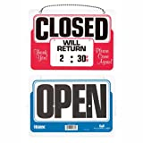USS9385 - Reversible Open/Closed Sign with Will Return Rotary Dial Digital Clock