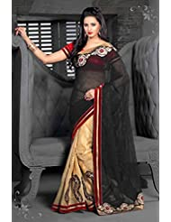 AG Lifestyle Black & Beige Georgette Saree With Unstitched Blouse ASL610