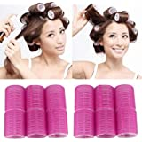 Voberry New Arrival 12 x Large Velcro Cling Rollers Curlers Hair Style Salon DIY 4.9cm Diameter - Pink