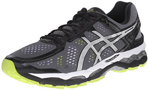 ASICS Men's Gel Kayano 22 Running Shoe, Charcoal/Silver/Lime, 10.5 M US
