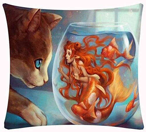 Cotton Linen Square Decorative Throw Pillow Case Cushion Cover European Modern Design Oil Painting Funny Cat Looked At Goldfish Bowl Scared Orange Little Mermaid 18