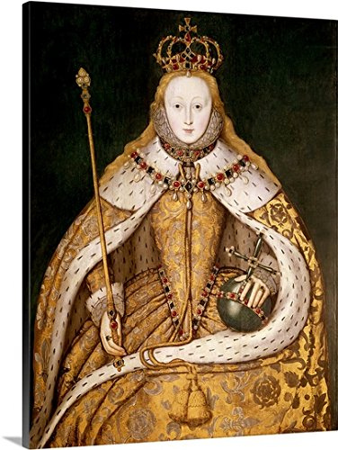 Premium Thick-Wrap Canvas Wall Art Print entitled Queen Elizabeth I in Coronation Robes, c.1559-1600 (oil on (Ermine Robe)