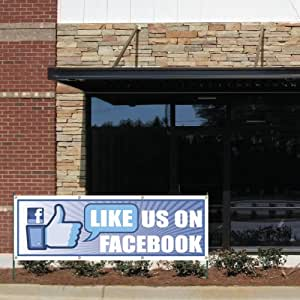 """Business Banner - 2' x 6' """"Like us on Facebook!"""" 10 oz. Vinyl Banner, with Grommets for Hanging"""