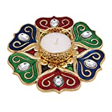 Mela Acrylic Plated Exclusive Metalic Finish Tea Light Candle Holder With Giftbox (Acrylic, 12cms, MultiColor-69)