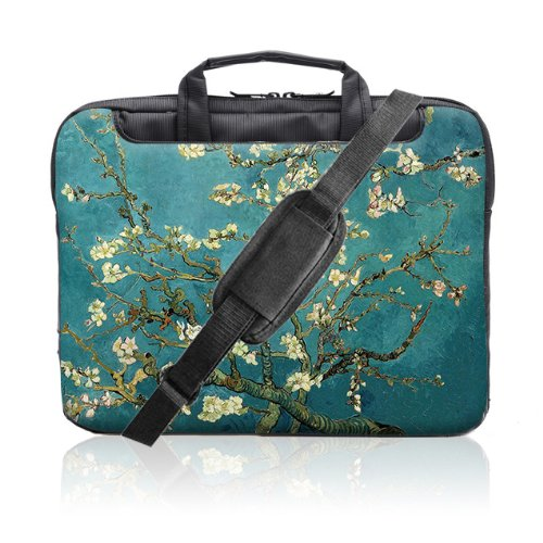 TaylorHe 15.6 inch 15 inch 16 inch Hard Wearing Nylon Laptop Carry Case Colourful Laptop Shoulder Bag with Patterns, Side Pockets Handles and Detachable Strap Vintage Oil Painting