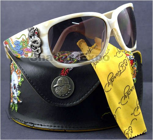 AUTHENTIC ED HARDY SUNGLASSES EHS 025 WHEAT IVORY GEISHA AND DRAGON