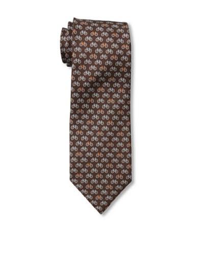 Battistoni Men's Bike Printed Silk Tie, Brown