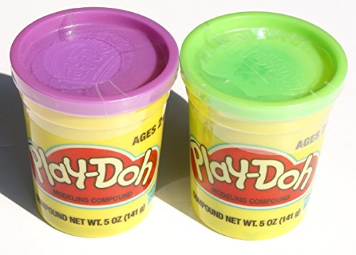 Play-doh - Set of Two Single Cans (5 Oz.) - Green and Purple - 1