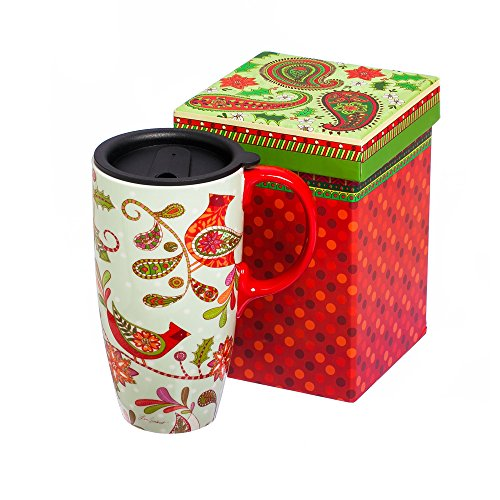 Paisley Christmas Cardinal Holiday Flourish Ceramic Travel Coffee Mug (Paisley Coffee Mug compare prices)