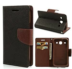 Aart Fancy Diary Card Wallet Flip Case Back Cover For Lenovo A7000 - (Black brown) by Aart Store