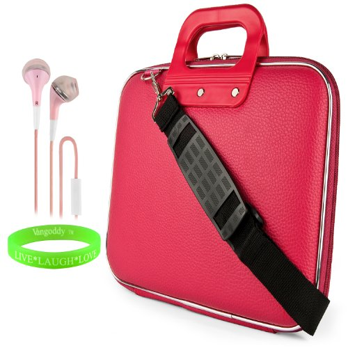 Cady Messenger Cube - Pink Magenta Ultra Durable Tactical Leather -Ette Bag Case Fits Samsung Galaxy Note Pro 12.2' Android Tablet + Pink Hands-Free Earphone (Headphones With Microphone)