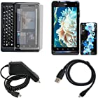 iNcido Brand Motorola Droid 3 XT862 Combo Blue Flower Protective Case Faceplate Cover + LCD Screen Protector + Rapid Car Charger + USB Data Charge Sync Cable for Motorola Droid 3 XT862