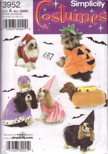 Dog Costumes In Two Sizes: Small And Medium (Simplicity Costumes 3952)