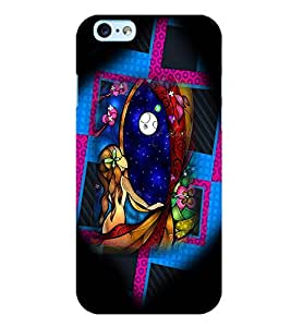 PrintVisa Modern Art Girl Colorful 3D Hard Polycarbonate Designer Back Case Cover for Apple iPhone 6