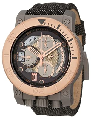 Jason Taylor for Invicta Collection 13049 Chronograph Black and Silver Tone Perforated Dial Black Fabric Watch