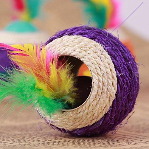 Healthy Clubs Haustier-Spielzeug, Sisalseil-Ball mit Loch, zum Spielen/Kratzen/Kauen, Spielzeug für Katze/Hund/Haustier -