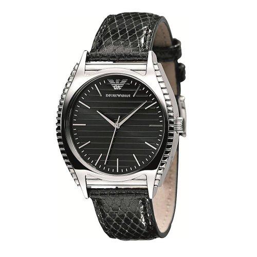 Emporio Armani AR0765 - Reloj analógico de cuarzo para mujer con correa de piel, color negro