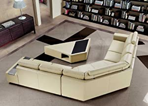 Tera - Beige Bonded Leather Sectional Sofa with Coffee Table