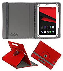 Acm Rotating 360° Leather Flip Case For Revolt Nx1 Tablet Cover Stand Red
