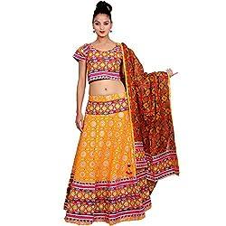 Yellow Lehenga Choli Dupatta Set for Women
