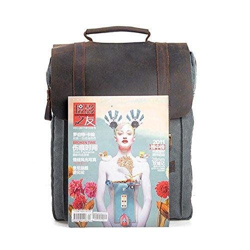 """Canvas Backpack, P.KU.VDSL Laptop Backpack, Vintage Canvas Backpack, Casual Daypacks, Retro Rucksack, Travel Bags, Genuine Leather Shoulder Bag for Men Outdoor Sports Recreation Fit 15"""" Laptop 6"""