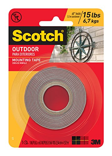 Scotch 411P Outdoor Mounting Double Sided Tape, 60 by 1-Inch (Outdoor Tape compare prices)