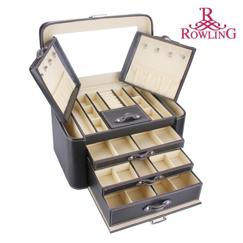 ROWLING Huge Black Pu Leather Earring Ring Necklace bracelet Storage Case Multilayer Jewellery Box Princess Cosmetic Box ZG-149