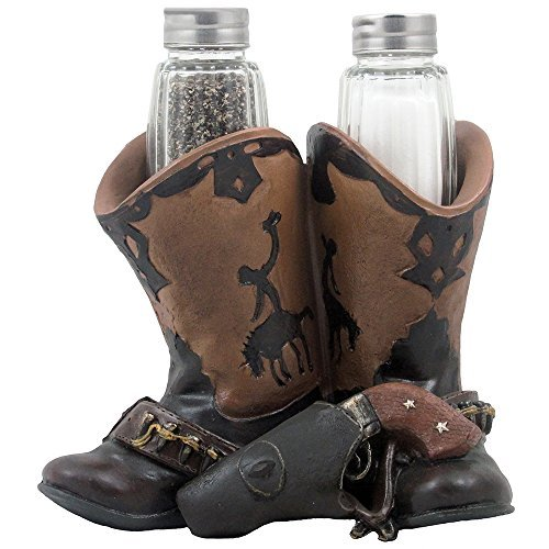Home n Gifts Decorative Cowboy Boots, Gun Belt & Six shooter Salt and Pepper Shaker Set with Holder Figurine for Western Restaurant, Bar and Kitchen Decor Sculptures or Collectible Gifts for