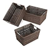 Whitmor Rattique Storage Baskets, Set of 3, Java