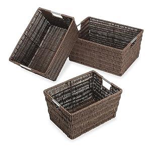 Amazon.com: Whitmor 6500-1959 Rattique Baskets, Java, Set of 3: Home