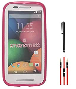 DMG Flexible Soft Glossy TPU Back Cover Case for Motorola Moto E XT1022 (Pink) + AUX Cable + Stylus
