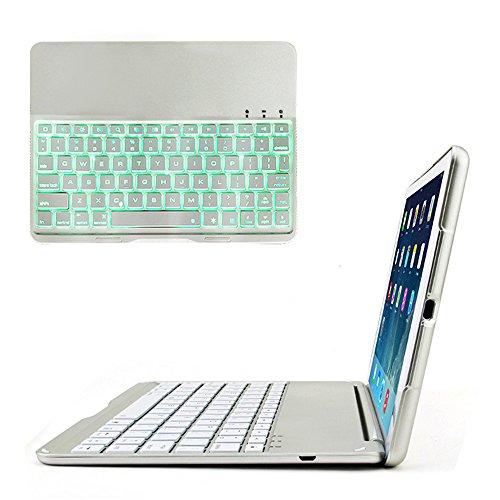 iPad air 2(6)専用 Bluetooth3.0 タブレットキーボード付ケース バックライト ノートパソコンに変身 (シルバー)