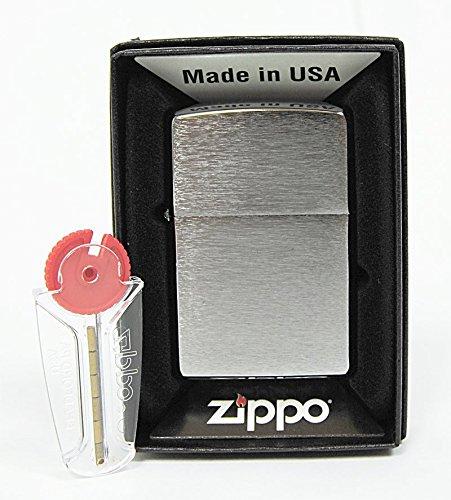 Zippo accendino in cromo spazzolato + 6fuoco pietre di ricambio