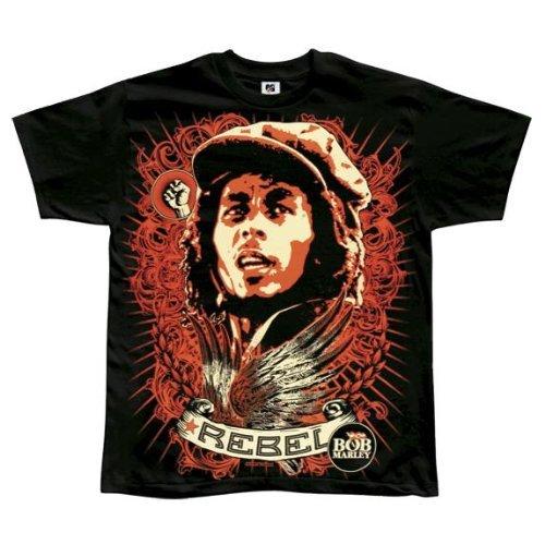 Old Glory Mens Bob Marley - Rebel Jumbo Soft T-Shirt / Black - X-Large Black