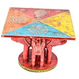 Rajgharana Handicrafts Multi Color Wooden Painted Elephant Side Telephone Table- (23 Cm X 23 Cm X 17 Cm)