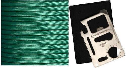 Ultimate Arms Gear Kelly Green 50' Feet Military Gi Nylon Type Iii Specification 550 Lbs 7 Strand Heavy Duty Utility Braided Paracord Survival Parachute Tactical Para Cord Rope Made In The U.S.A. + 11-In-1 Multi Functional Purpose Function Credit Card Siz