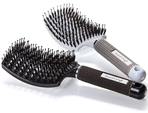 Boar Bristle Hair Brush - Curved and Vented Detangling Hair Brush for Women Long, Thick, Thin, Curly & Tangled Hair (Hair Brush For Curly Hair compare prices)