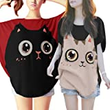 Allegra K Womens Round Neck Batwing Sleeve Cartoon Pullover Tunic Shirt