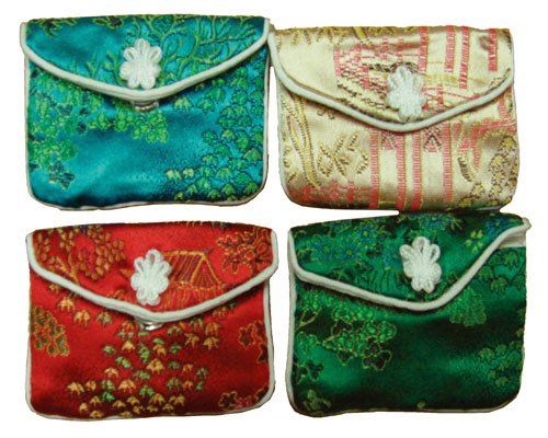 Assorted Asian brocade jewelry pouches  snap