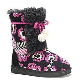 MUK LUKS Infant/Toddler Girls\' Jewel Slipper Boot, Black, 10 M US Toddler