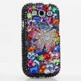 3D Luxury Swarovski Crystal Sparkle Diamond Bling Black Colorful Flower Design Case Cover for Samsung Galaxy S4 S 4 IV i9500 fits Verizon, AT&T, T-mobile, Sprint and other Carriers (Handcrafted by BlingAngels®)