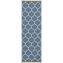 Safavieh Courtyard Collection CY6914-243 Blue and Beige Indoor/ Outdoor Runner, 2 feet 3 inches by 10 feet (2\'3\