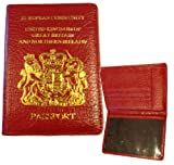 Passport cover holder real leather protection cover GB Northern Ireland in Red